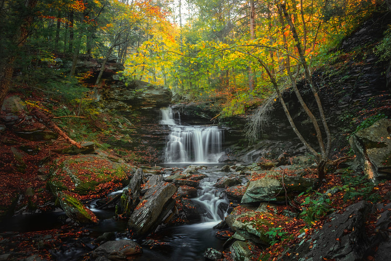 Autumn Paradise In Waterfall Glory-Ricketts Glen State Park, Benton,  Pennsylvania