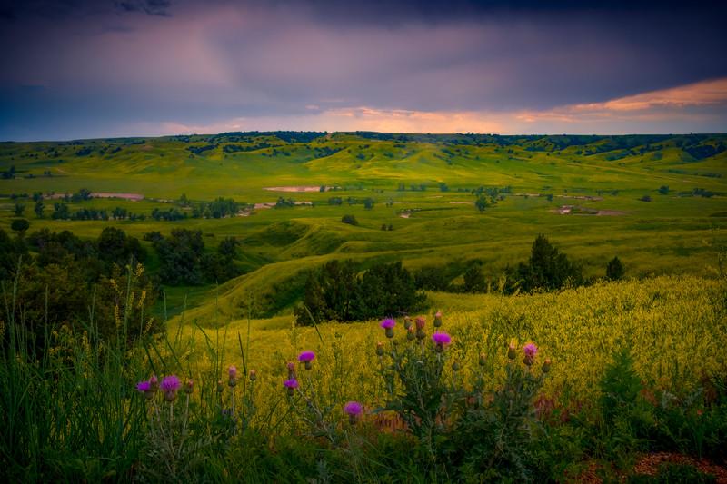 Sunset Mood Over Valley - Badlands National Park, South Dakota