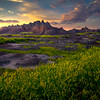 Sunset Glow Diffused Into The Badlands - Badlands National Park, South Dakota