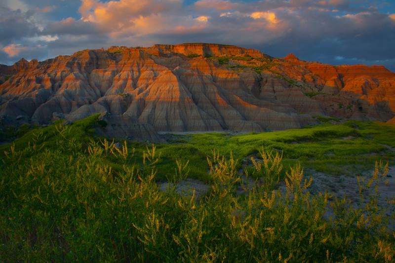 Sunset Clouds Settle Over The Badland Peaks - Badlands National Park, South Dakota