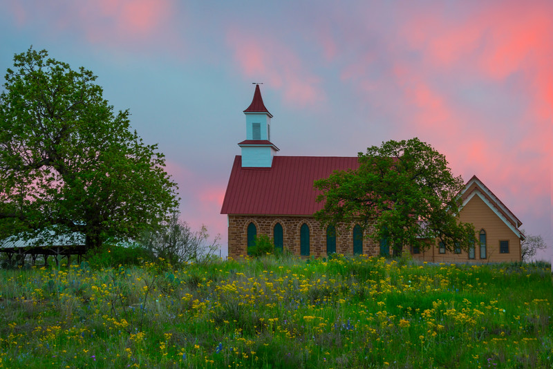 Church Sunset Framed In Color