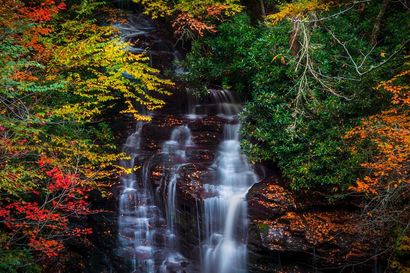 Creekside Waterfalls Immersed In Color - Soca Falls, Qualla, North Carolina