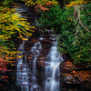 Creekside Waterfalls Immersed In Color - Soca Falls, Qualla, North Carolina