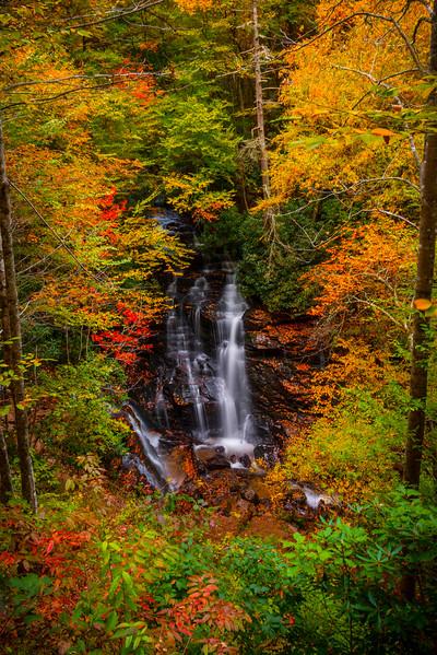 Surrounded By Autumn Colors Of Delight - Soca Falls, Qualla, North Carolina