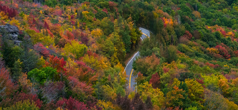Road Through Blue Ridgeway Looking Down_Pano - Blue Ridge Parkway, North Carolina