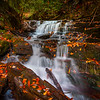 Running Waterfalls And Autumn Foliage - Soca Falls, Qualla, North Carolina