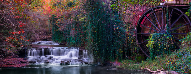 Fall Colors GristMIll Waterfall_Pano - Fall Mills Grist Mill, Belvidere,  Tennessee