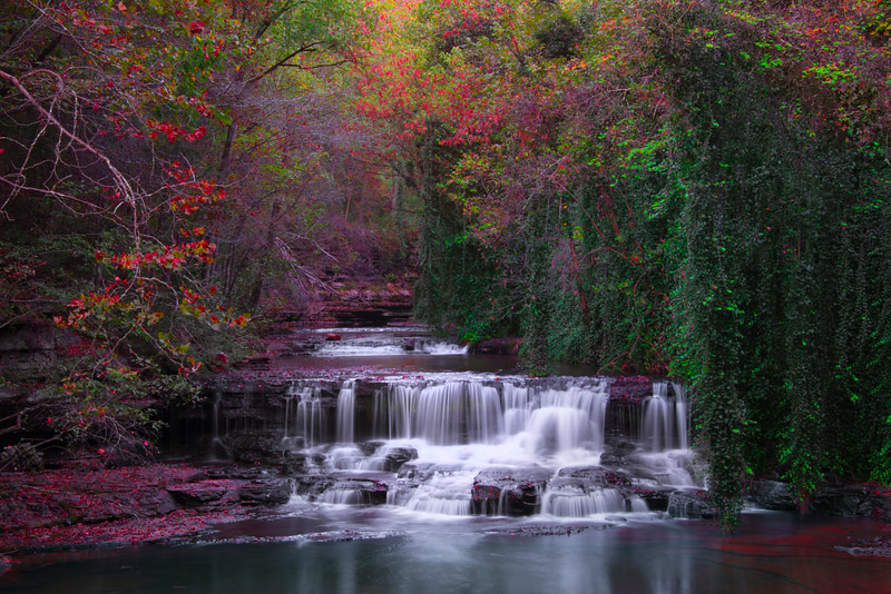 Fall Colors Grist Mill Waterfall - Fall Mills Grist Mill, Belvidere, Tennessee