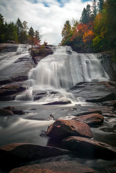 Looking Up At High Falls -  Little River, Pisgah Forest, North Carolina