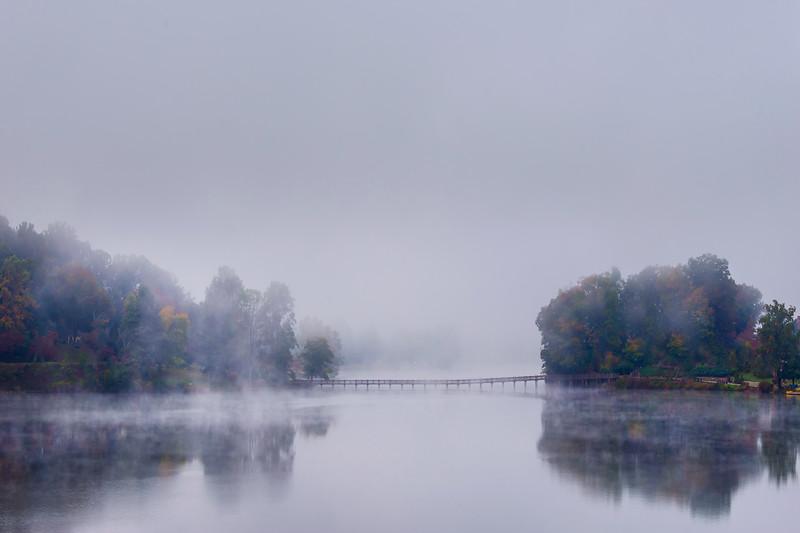 Channel Of Fog And Color On Lake Junaluska Lake Junaluska, North Carolina