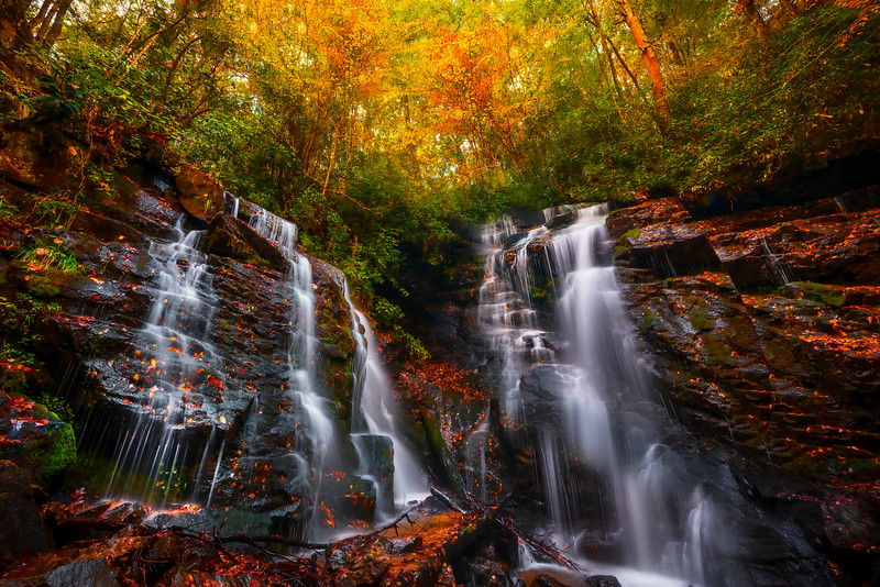 Double Falls Of Autumn - Soca Falls, Qualla, North Carolina