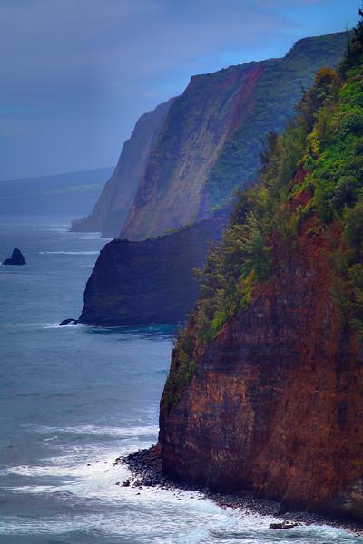 Looking Down The Hawaiian Coastline - Polou Lookout - The Big Island, Hawaii