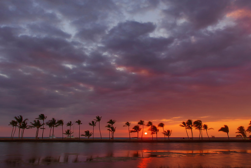 A' Bay Pond Sunset - Kona, The Big Island, Hawaii