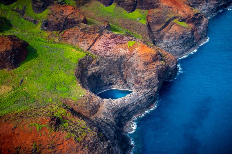 Sea Cave Along The Na Pali Coast - Na Pali Coastline, Kauai, Hawaii