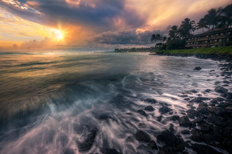 Golden Light Over The Shore Rocks - Honu Bar, Poipu Area, South Shore, Kauai