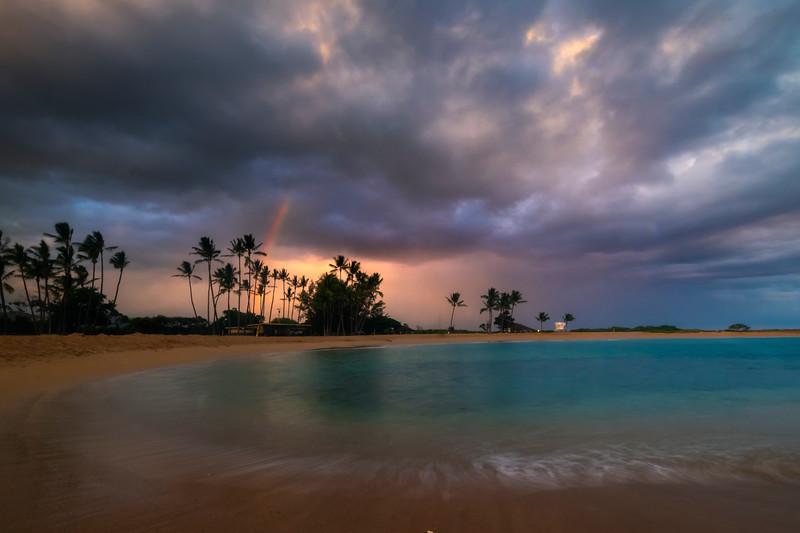 Sunset Rainbow Over Salt Pond Park - Salt Pond Beach Park, South Kauai, Hawaii