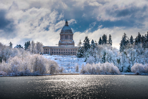 Capital Building And Capital Lake In Snow