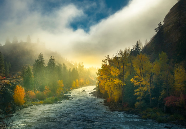 Sun Breaking Through On River Bank - Leavenworth, Central Washington, WA