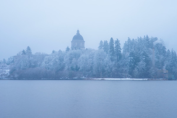 Olympia Capital Building In White Snow - Capital Lake, Olympia, WA