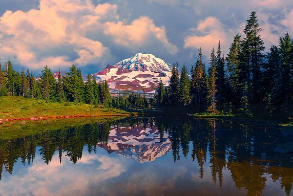 Spray Park Storm Reflections - Spray Park, Mount Rainier National Park, Washington