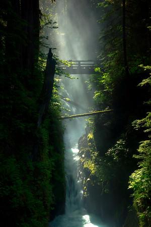 Sol Duc Falls Bridge Late Morning Light - Sol Duc River, Olympic National Park, WA