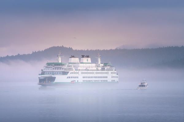 Washington Ferry Sailing Through Morning Fog