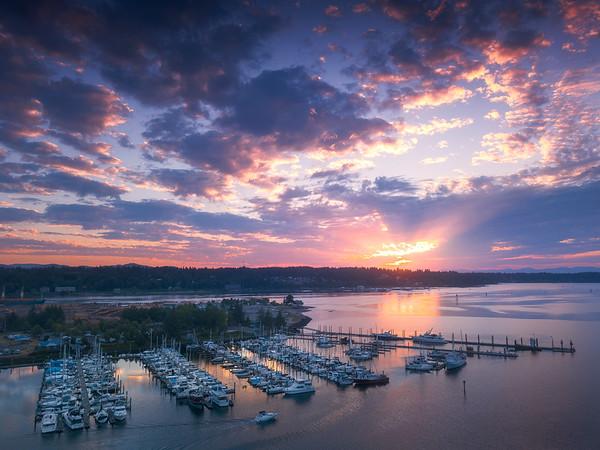Sunset Rays Over Olympia Marina - Olympia, Washington