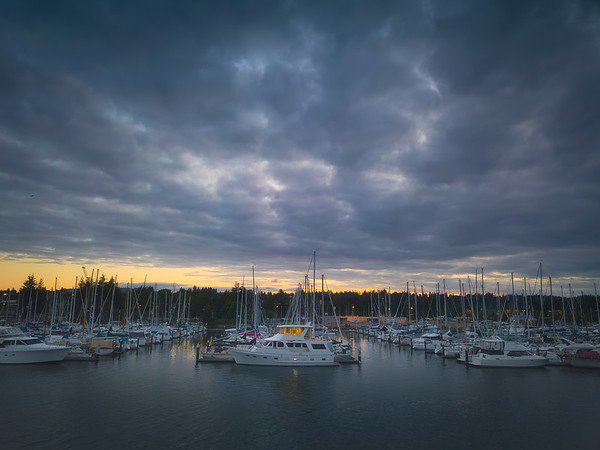 Olympia Marina At Dusk - Olympia, Washington