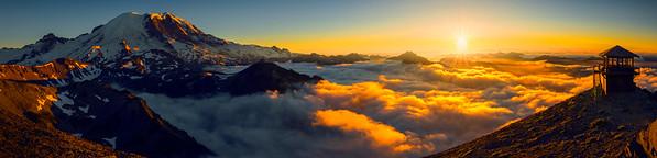 Pano_Mt Fremont Lookout and Mt Rainier - Mt Fremont Fire Lookout, Mount Rainer National Park, WA