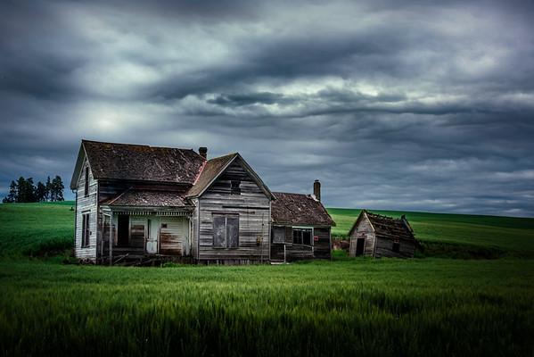 The Weber House Under Thunder Clouds - Weber House, Staley, Palouse, WA