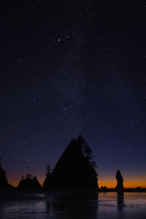 Milky Way Stars Over Shi Shi - Shi Shi Beach, Point Of Arches, Olympic National Park, Washington