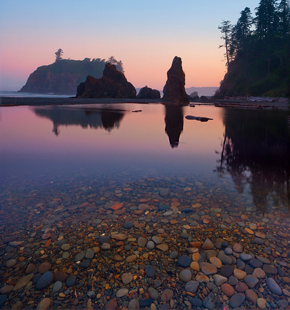 Tidepools Reflecting The Haystacks Of Ruby, Ruby Beach, Olympic National Park, Washington