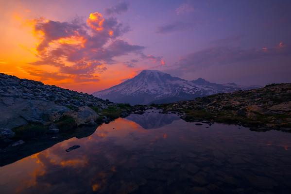 Twilight Reds Over Mount Rainier Pinnacle Peak Area, Mount Rainier National Park, WA