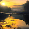 Breaking Sunrise And Mist Along The Hoh River How River, Olympic National Park, WA