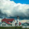 Point Wilson Lighthouse With Storm Clouds Behind - Point Wilson Lighthouse, Fort Worden State Park, WA