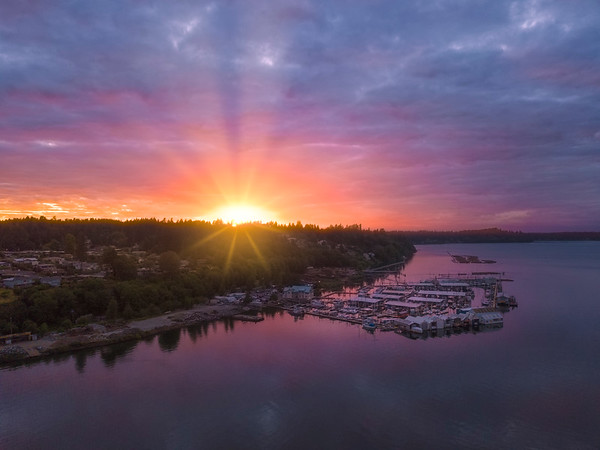 Sunset Show Over The Marina - Olympia, Washington