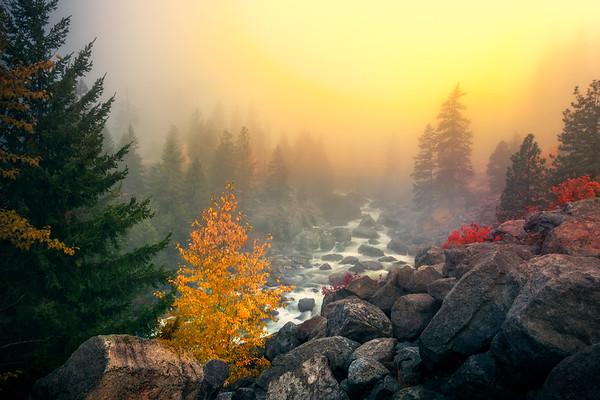 Sunrise Breaking Through Fog Bank - Leavenworth, Central Washington, WA