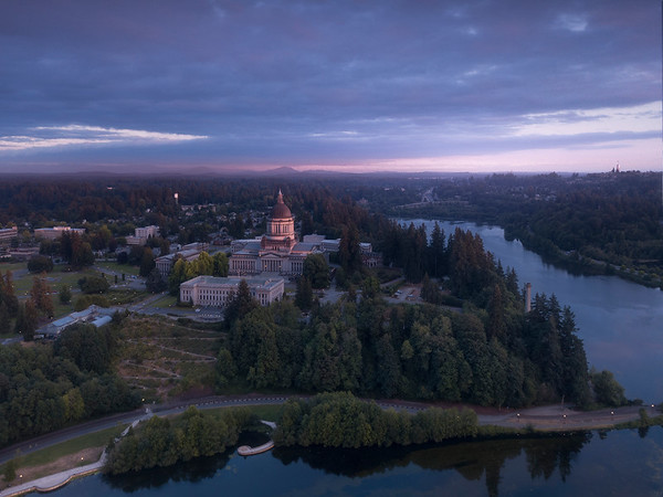 Looking At The Capital Building From The Air - Olympia, Washington