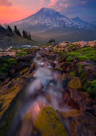 Creek Falling From Pinnacle Peak Into Valley Pinnacle Peak Area, Mount Rainier National Park, WA