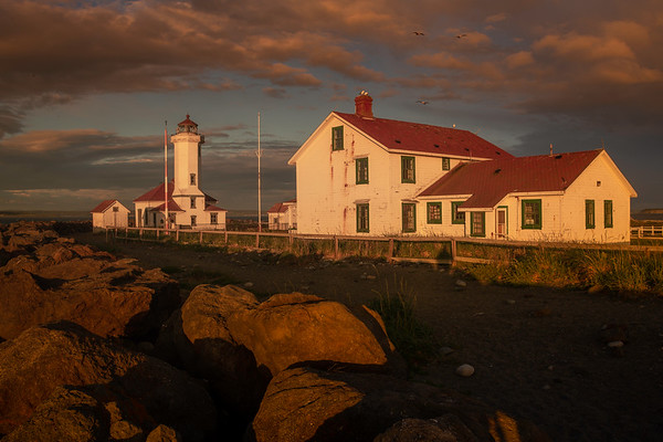 Moody Sunset On Point Wilson Lighthouse - Point Wilson Lighthouse, Fort Worden State Park, WA
