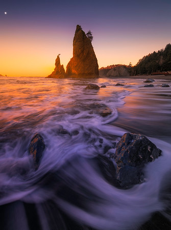Rialto Beach And A Warm Sunset Reflection - Rialto Beach, Olympic National Park, WA