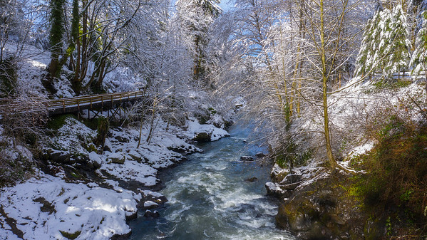 Tumwater Falls On A Snowy Afternoon