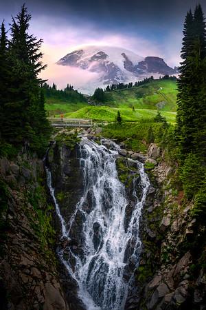 Myrtle Falls And Rainier Out Near Sunset - Mount Rainier National Park, WA