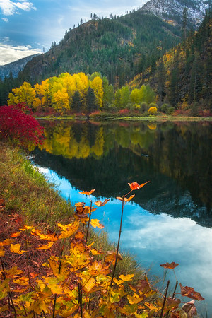 Layers Of Autumn Colors Reflected - Leavenworth, Central Washington, WA