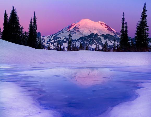 Twilight Melting - Tipsoo Lake, Mount Rainier National Park, Washington