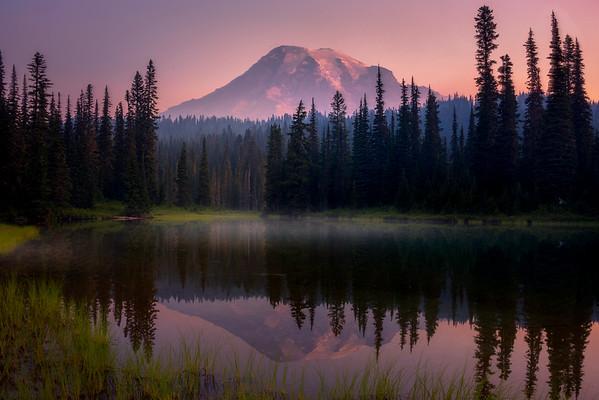 Pink Hueish Sunrise - Reflection Lakes, Mt Rainier NP, WA