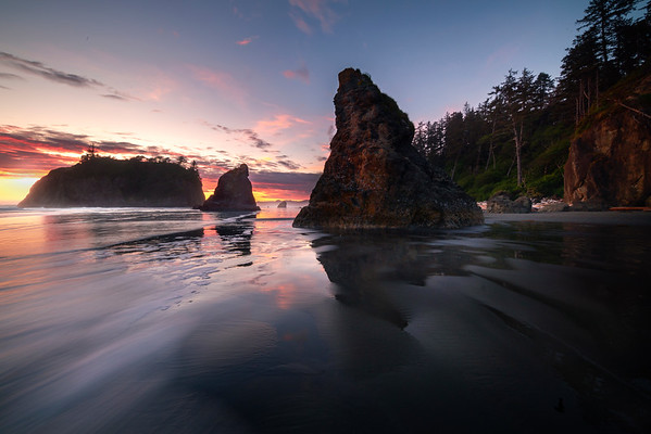 Sunset Ripple Lines Rialto Beach, Olympic National Park, Washington