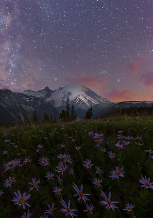 Mt Rainier And Milky Way From Emmons Glacier - Mount Rainier National Park, WA