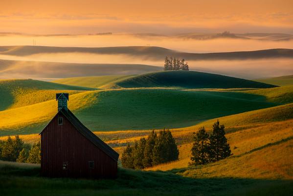 Rolling Fog In Valley Behind Moscow Eid Barn - Moscow Eid Barn, Moscow, Idaho