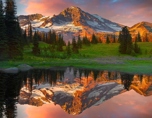 Double Moments Of Rainier At Sunset - Indian Henry Hunting Grounds - Mt  Rainier, Washington - Washington - Kevinmcneal